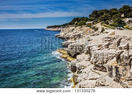 Famous National Park Calanques on the Mediterranean coast. Abrupt stony coast and turquoise sea surface