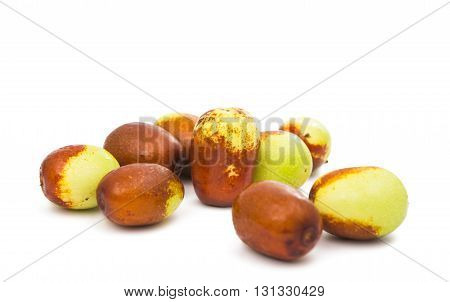 agriculture chinese jujubes isolated on white background