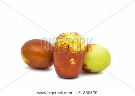 agriculture, chinese jujubes isolated on white background