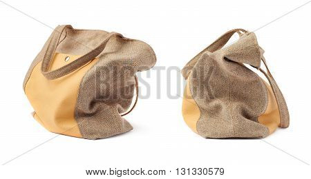 Set of Rag brown Female bag isolated over the white background