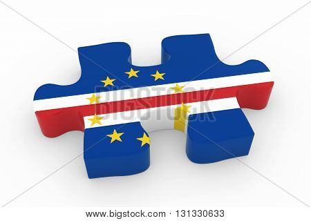 Cabo Verdean Flag Puzzle Piece - Flag Of Cape Verde Jigsaw Piece 3D Illustration