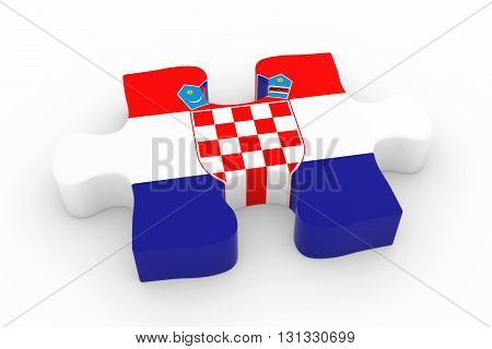 Croatian Flag Puzzle Piece - Flag Of Croatia Jigsaw Piece 3D Illustration