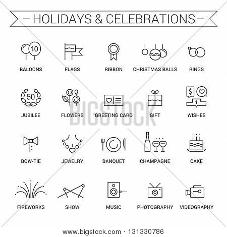 Icons of holidays and celebrations in linear style. Black.