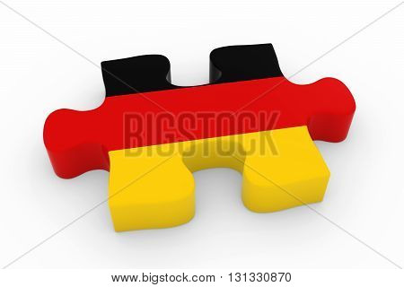German Flag Puzzle Piece - Flag Of Germany Jigsaw Piece 3D Illustration