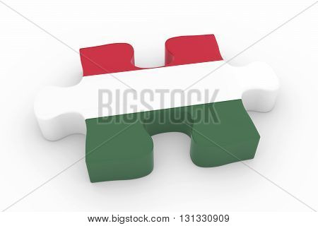 Hungarian Flag Puzzle Piece - Flag Of Hungary Jigsaw Piece 3D Illustration