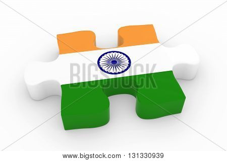 Indian Flag Puzzle Piece - Flag Of India Jigsaw Piece 3D Illustration