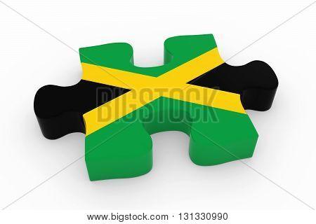 Jamaican Flag Puzzle Piece - Flag Of Jamaica Jigsaw Piece 3D Illustration