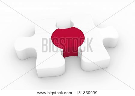 Japanese Flag Puzzle Piece - Flag Of Japan Jigsaw Piece 3D Illustration
