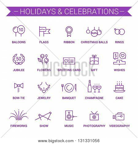 Icons of holidays and celebrations in linear style. Violet.