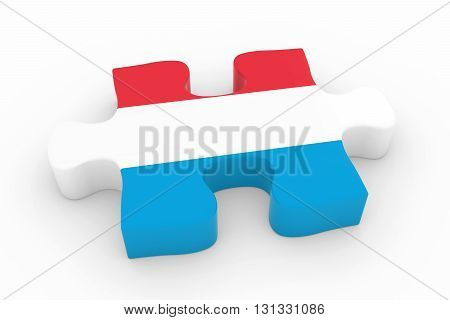 Luxembourgian Flag Puzzle Piece - Flag Of Luxembourg Jigsaw Piece 3D Illustration