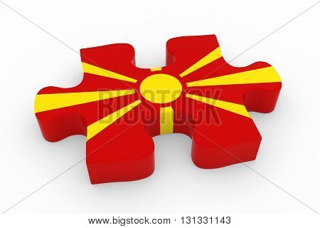 Macedonian Flag Puzzle Piece - Flag Of Macedonia Jigsaw Piece 3D Illustration