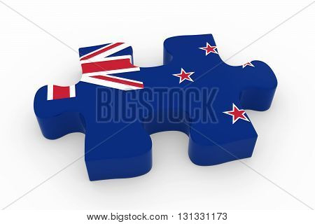 New Zealand Flag Puzzle Piece - Flag Of New Zealand Jigsaw Piece 3D Illustration