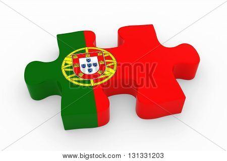 Portuguese Flag Puzzle Piece - Flag Of Portugal Jigsaw Piece 3D Illustration