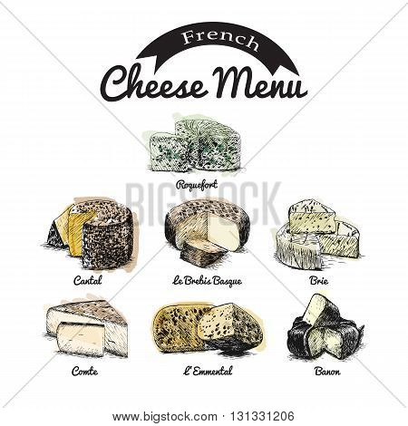 Vector illustrated Set #2 of French Cheese Menu. Illustrative sorts of cheese from France.