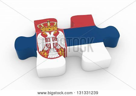 Serbian Flag Puzzle Piece - Flag Of Serbia Jigsaw Piece 3D Illustration