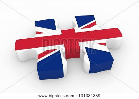 British Flag Puzzle Piece - Flag Of The Uk Jigsaw Piece 3D Illustration