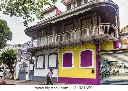 Old House With Colorful Walls In Pointe-a-pitre