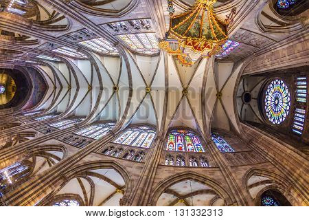 Ceiling Of Famous Strassbourg Cathedral