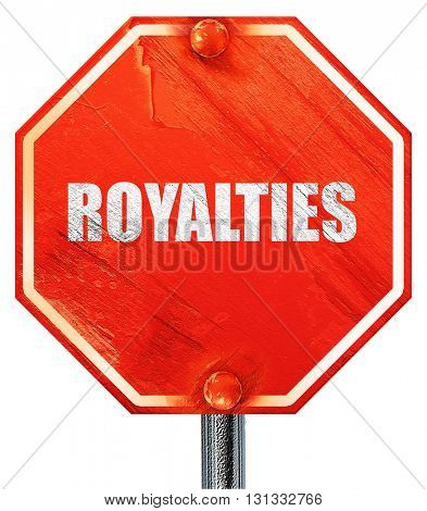 royalties, 3D rendering, a red stop sign