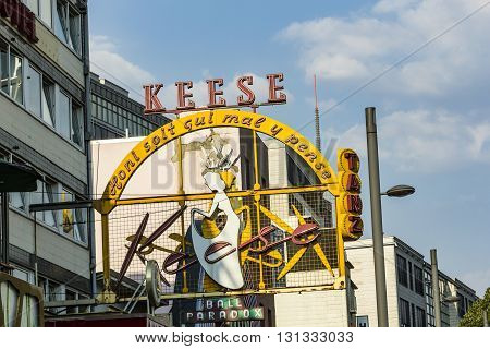 Famous Sign Cafe Keese At The Reeperbahn In Hamburg