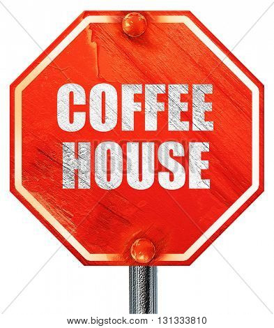 Coffee house sign, 3D rendering, a red stop sign