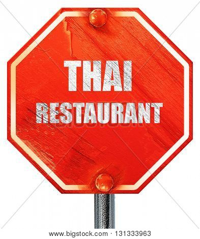 Delicious thai cuisine, 3D rendering, a red stop sign