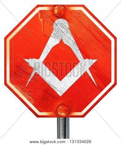 Masonic freemasonry symbol, 3D rendering, a red stop sign