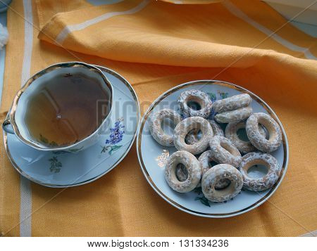 Bagels and tea. Bread products choux pastry in the form of rings of different sizes. Homeland bagels, Belarus
