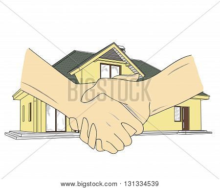 Real estate agent and customer making a deal concept. Handshake with a family house in the background. Vector illustration