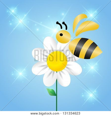 Merry bee on a flower in the sky.