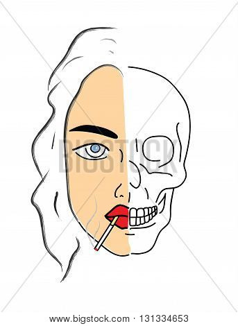 smoking kills. woman smoking a cigarette and skull becomes. vector illustration.