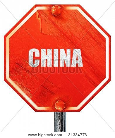 Greetings from china, 3D rendering, a red stop sign