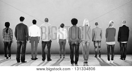 People Rear View Togetherness Corporate Team Concept