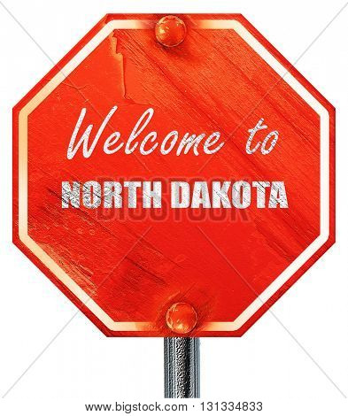 Welcome to north dakota, 3D rendering, a red stop sign