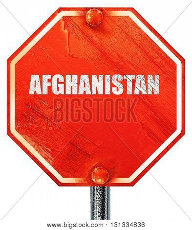 Greetings from afghanistan, 3D rendering, a red stop sign