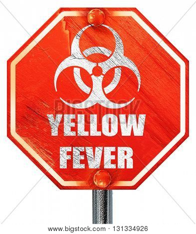 yellow fever concept background, 3D rendering, a red stop sign