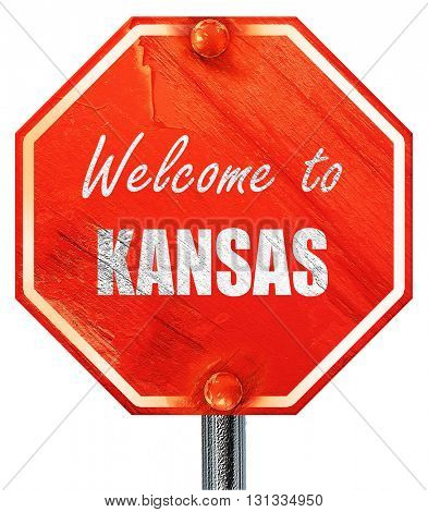 Welcome to kansas, 3D rendering, a red stop sign