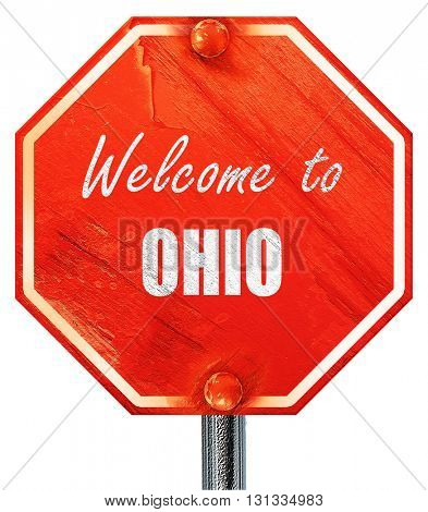 Welcome to ohio, 3D rendering, a red stop sign