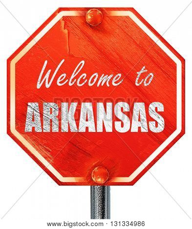 Welcome to arkansas, 3D rendering, a red stop sign