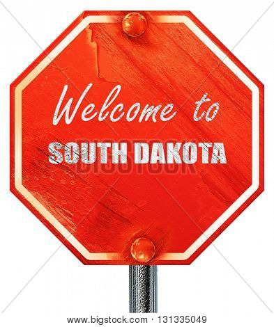 Welcome to south dakota, 3D rendering, a red stop sign