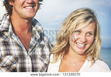 Couple Cheerful Bonding Beach Nature Sea Sky Concept