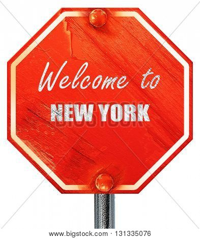 Welcome to new york, 3D rendering, a red stop sign