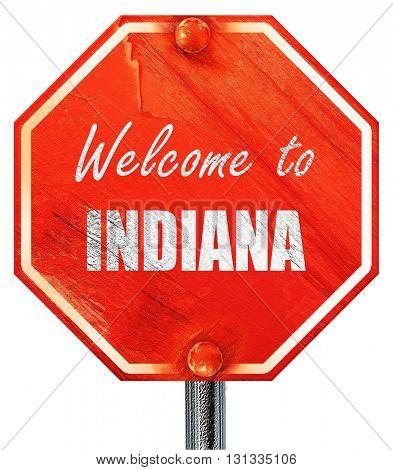 Welcome to indiana, 3D rendering, a red stop sign