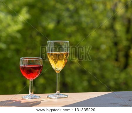 wine party outdoors. Two wine glasses. Garden
