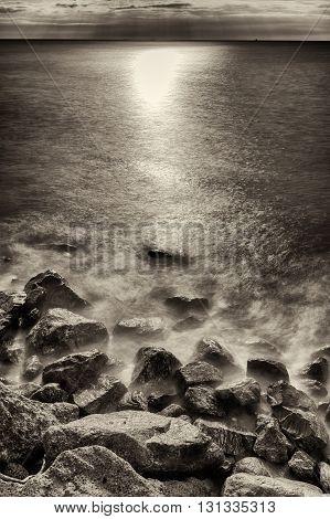 Seaside in a windy day near Genoa Liguria Italy