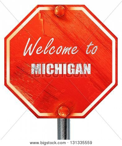 Welcome to michigan, 3D rendering, a red stop sign
