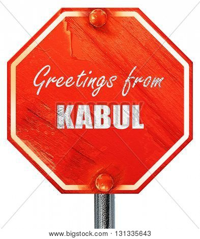 Greetings from kabul, 3D rendering, a red stop sign