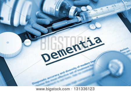 Dementia, Medical Concept with Selective Focus. Dementia Diagnosis, Medical Concept. Composition of Medicaments. Dementia - Printed Diagnosis with Blurred Text. 3D Render.