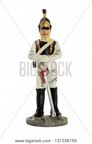 Tin Toy soldier on a white background