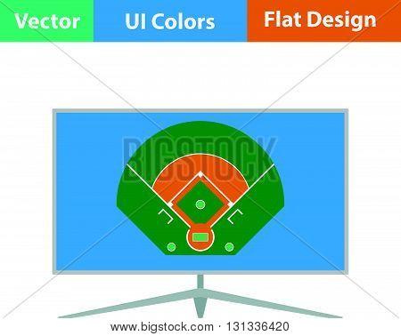 Baseball tv translation icon. Flat design ui colors.. Vector illustration.